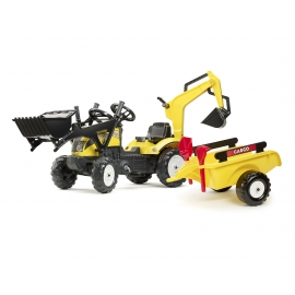 Yellow ranch tract with Backhoe, excavato, trailer, shovel and rake