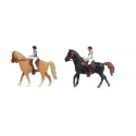 Horse with rider 2assorted (1brown & 1black)