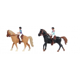 2 horses with rider 2 assorted (Black & brown) - scale 1.24