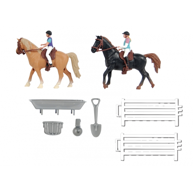 2 Horses with riders and accessories