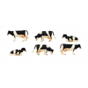 Kids Globe 1:32 Scale Black & White Cows Laying and Standing 6 pieces KG570009