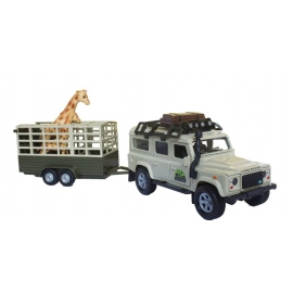 Land Rover Defender with giraffe trailer and a giraffe