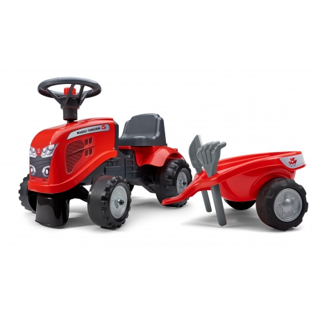 Massey Ferguson Push-Along Tractor w/trailer, Rake & Shovel - 2 sets of decals