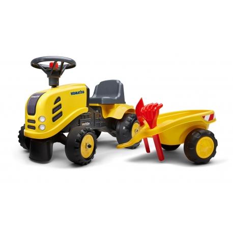 Baby Komatsu ride-on tractor with trailer, rake & shovel