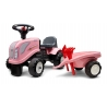 Baby Girly New Holland ride-on tractor with trailer, rake & shovel