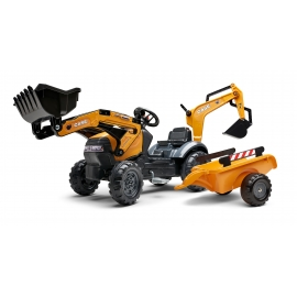 Case CE Ride-on pedal Pedal Backhoe w/ Rear Excavator, Front Loader and trailer by Falk - +2.5 years