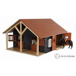 Kids Globe 1:24 Scale Wooden Horse stable with 2 stalls and workshop KG610167