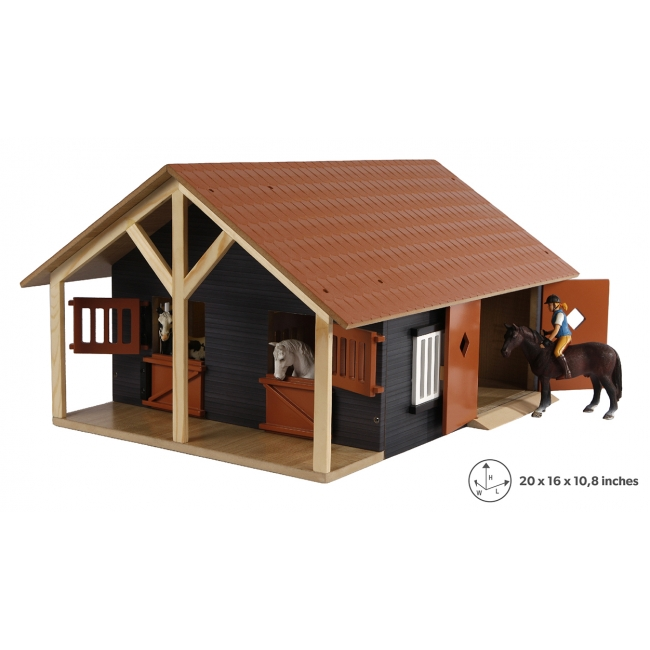 Wooden Horse stable with 2 boxes and workshop