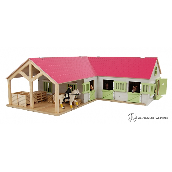 Wooden Horse stable with 4 boxes storage and wash box