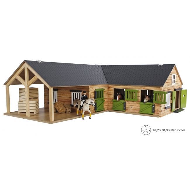 Wood Horse stable with 4 boxes storage and wash box