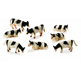 Cows 8pcs Black/white laying & Standing