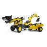 Komatsu Pedal backhoe with Rear Excavator and Trailer Included