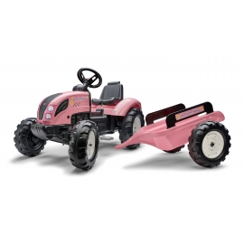 Pink Country Farmer Ride-on tractor with Trailer by Falk - +3years