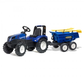 New Holland T8 ride-on pedal Tractor with Maxi Tilt Trailer with rake and shovel by Falk - +3 years